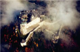fortress Hohenwerfen surrounded by fog
