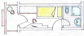 draft of a single room